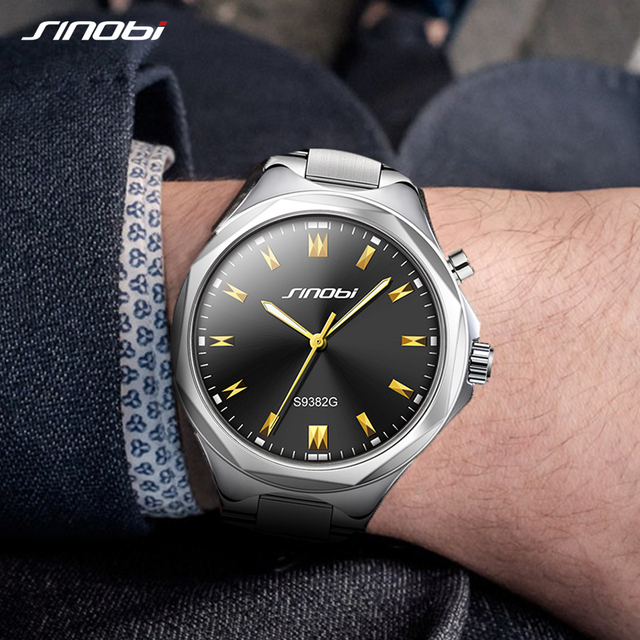 SINOBI для мужчин наручные часы подсветкой сталь ремешок для часов лучший бренд класса люкс Мужской Женева Кварцевые часы для мужчин часы relogio masculino