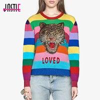 Jastie Runway Rainbow Striped Women S Sweater Luxury Sequins Tiger Head Pullover 2017 Autumn Winter Knitted