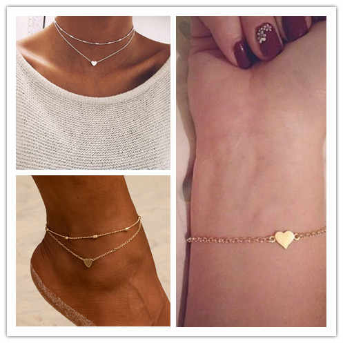 Summer Hot Boho Jewelry Small Heart Bracelet Necklace Anklet For Women Statement Simple Bohemian Jewelry Set Choker Pulseras
