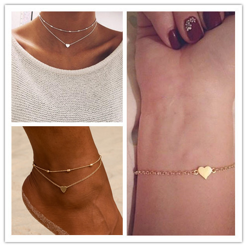 Summer Hot Boho Jewelry Small Heart Bracelet Necklace Anklet For Women Statement Simple Bohemian Jewelry Set Choker Pulseras
