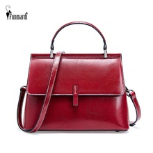 FUNMARDI New Genuine Leather Female Shoulder Bag Small Flap Bags For Lady Crossbody Bag Vintage Oil Wax Leather Handbag WLHB1988
