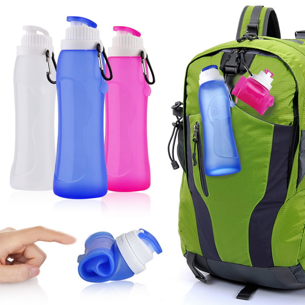 Silicone Foldable Water Bottle BPA Free Collapsible Drinkware Travel Sport Camping Hiking Accessories 500ml