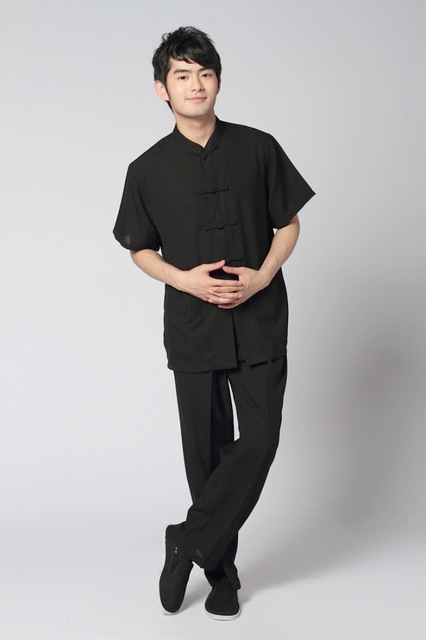Black Spring Chinese Men's Linen Cotton Shirt Trousers Kung Fu Suit S M L XL XXL XXXL 2350-13