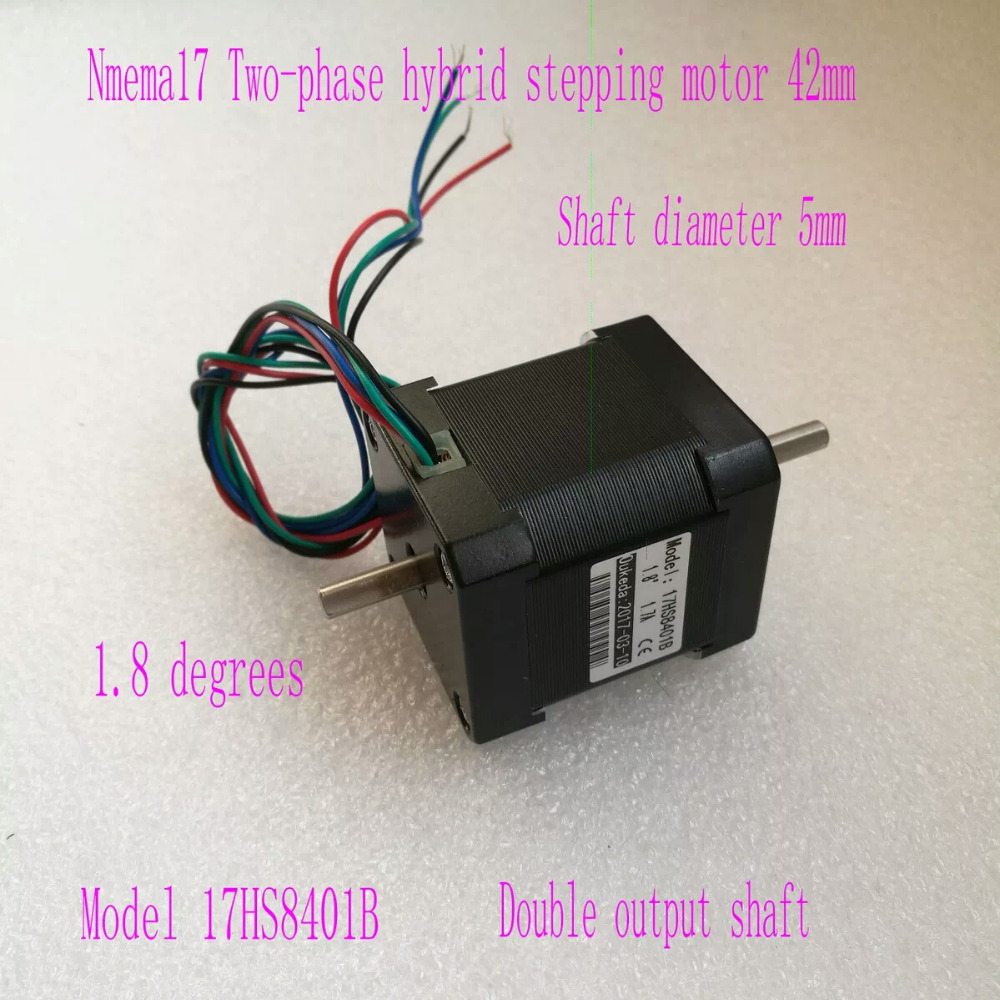5pcs Dual shaft NEMA17 stepper motor 78 Oz-in CNC stepper motor nema 17 17hs8401B stepping motor/1.8A