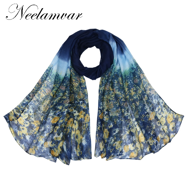 Neelamvar Winter Scarf Women Cotton Polyester Voile Floral Pattern Thin Scarfs Vintage Shawl Sjaal Bufandas Foulard Good Quality