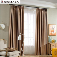 Silk sólidos shinny tecido cortinas cortina para sala cinza tan GIGIZAZA black out tamanho personalizado sombra estilo americano para o quarto|curtains for|curtain styles|style curtains -