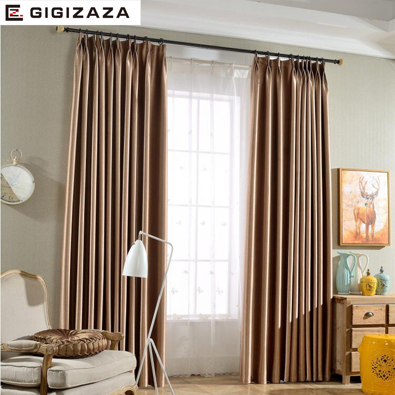 Silk Solid Shinny Blinds Fabric Curtain For Livingroom Grey Tan GIGIZAZA Black Out Custom Size Shade