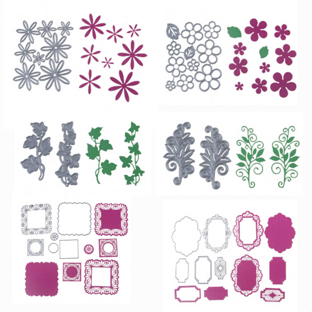 6 Styles Leaves Flower Metal Cutting Dies Greeting Cards Scrapbook Die 3D Stamp DIY Scrapbooking Card Making Photo Decoration