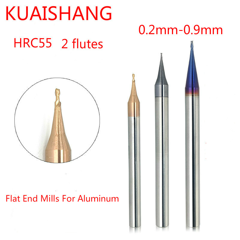 KUAISHANG 2 Flutes 0.2-0.9mm Solid Carbide Flat End Mills For Aluminum HRC55 Tungsten Steel  Flat End Mills