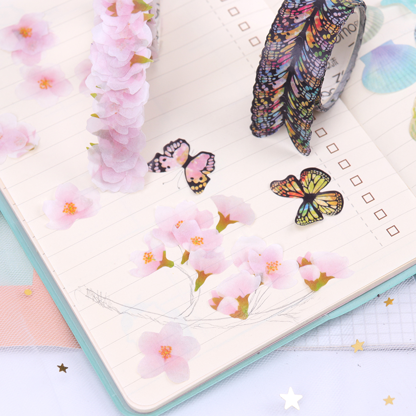Washi Masking Tape Sakura Flower Paper Masking Tapes Decoration Washi Tape DIY Scrapbooking Sticker