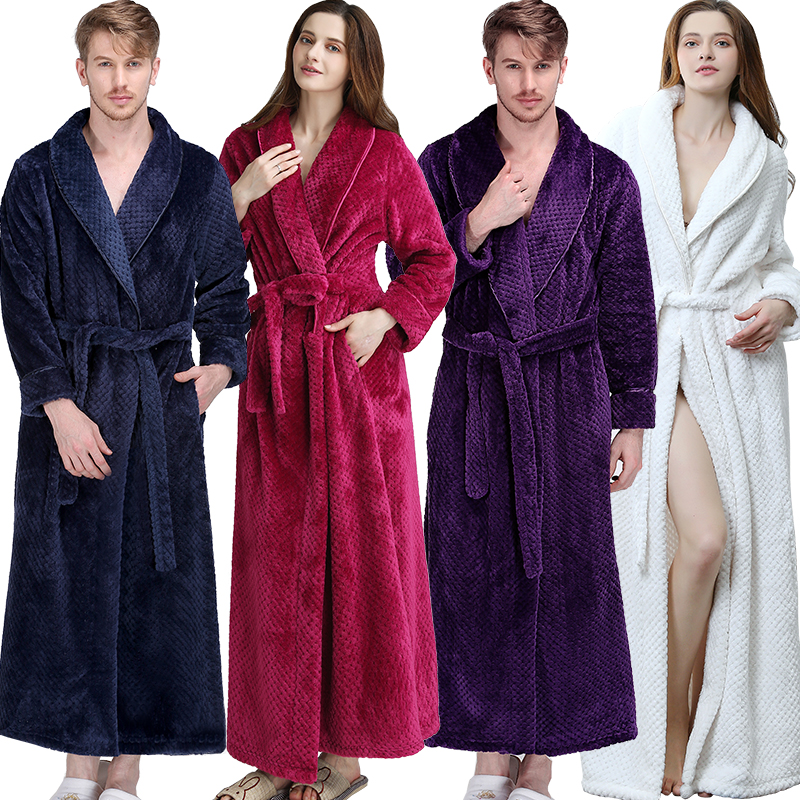 4a9ef895296e Women Men Extra Long Warm Grid Flannel Bath Robe Winter Kimono Bathrobe  Luxury Thermal Dressing Gown Bridesmaid Robes Nightgown
