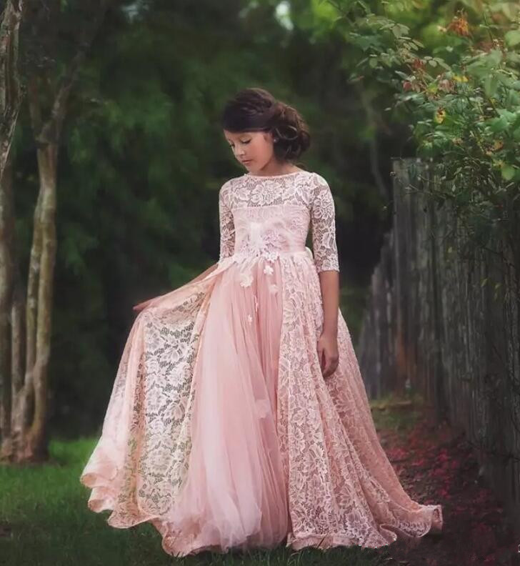 New Lace Half Sleeves A Line Flower Girls Dresses Jewel Neck Bow Sash Tulle Applique Princess Pageant Gown jewel neck sleeveless floral print a line belted dress