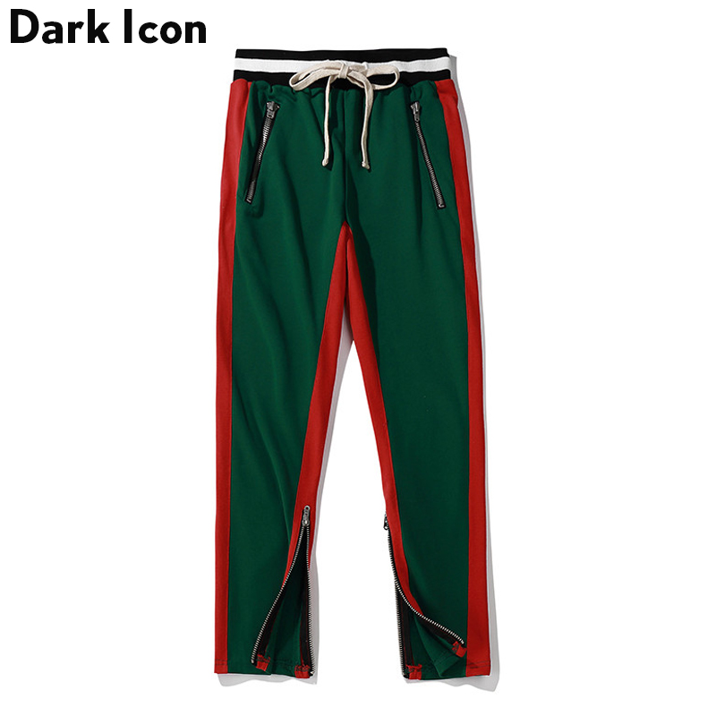 Side Patchwork Elastic Waist Drawstring Men's Track Pants 2018 Streetwear Terry Material Cotton Pants Trousers Men 9 Colors