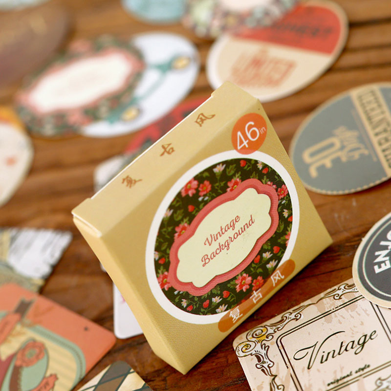 46 pcs box Japanese vintage adhesive paper stickers Candy box diy gift card  decoration Holiday 77f0223c6649