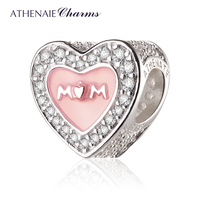 ATHENAIE 925 Sterling Silver Pink Enamel Mother Heart Charms Beads for Mother's Day Diy Jewelry Making