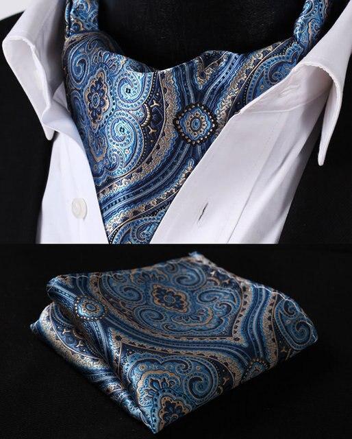 RF404B Blue Beige Floral Silk Cravat Woven Ascot Tie Pocket Square Handkerchief Suit Set