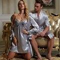 Fashion Couple Bathrobes For Men Women Full Sleeve Solid Robe Sets Imitation Silk Pijamas V Neck Lace Sleepwear Free Shipping