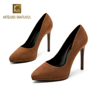 11CM High Heels Pumps Brown Flock Waterproof Platform Shoes Women Party Pumps Ladies Bridal Wedding Shoes K 231