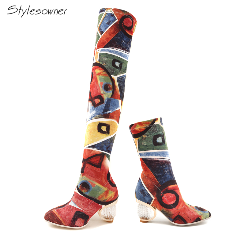Stylesowner Lady Slip On Graffiti Over The Knee Long Boots Elastic Stretch Fabric High Heel Boots Women Strange TransparentHeels