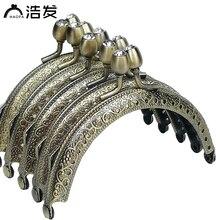 Купить с кэшбэком HAOFA 8.5cm Accessories for Bags Pattern Arc Embossing Metal Clutch Frame Bronze Diamond Head Frame Kiss Clasp Coin Purse Frame