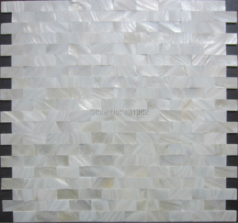Home mosaics tiles white subway brick mother of pearl tile ...