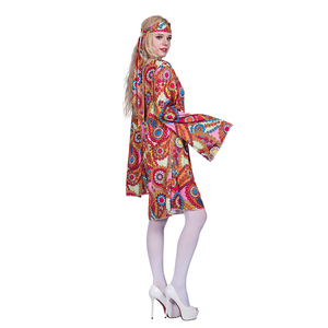 Image 2 - 2017 Flower Printed Long Sleeve Boho Dresses Hippie Dress With Headband Adult Halloween Cosplay Plus Size Halloween Costumes