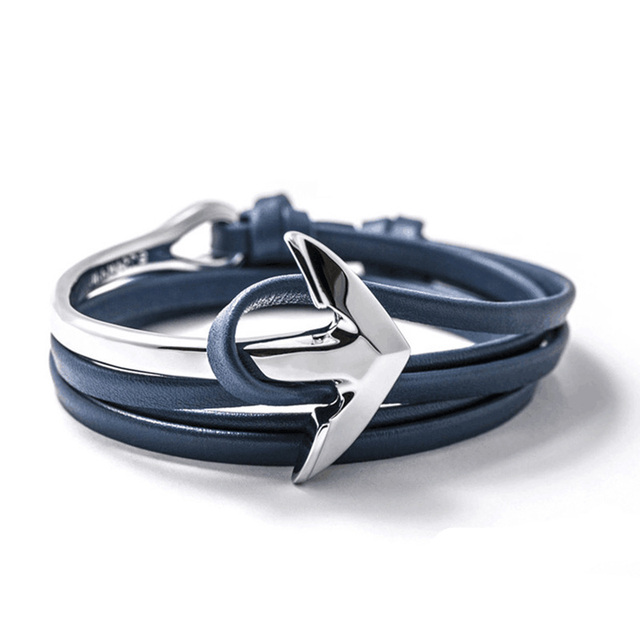 Fast ship New Arrival Fashion Jewelry PU Leather Bracelet Men Half Bend Anchor Bracelet tom hope