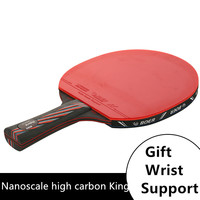 1 x long or short hand Carbon Fiber Table Tennis Racket High end Professional Vertical Shooting Table Tennis Bats With Bag