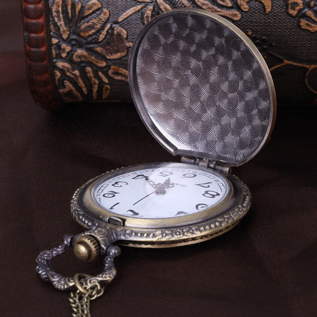Men Pocket Watch Male Necklace Vintage Quartz Watches Birthday Islamic Carstles