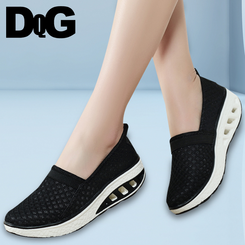 DQG 2018 Women Shoes Summer Casual Black Chaussures Femme Flats Shallow Female Shoes Flat Platform Mesh Slip On Zapatos Mujer все цены