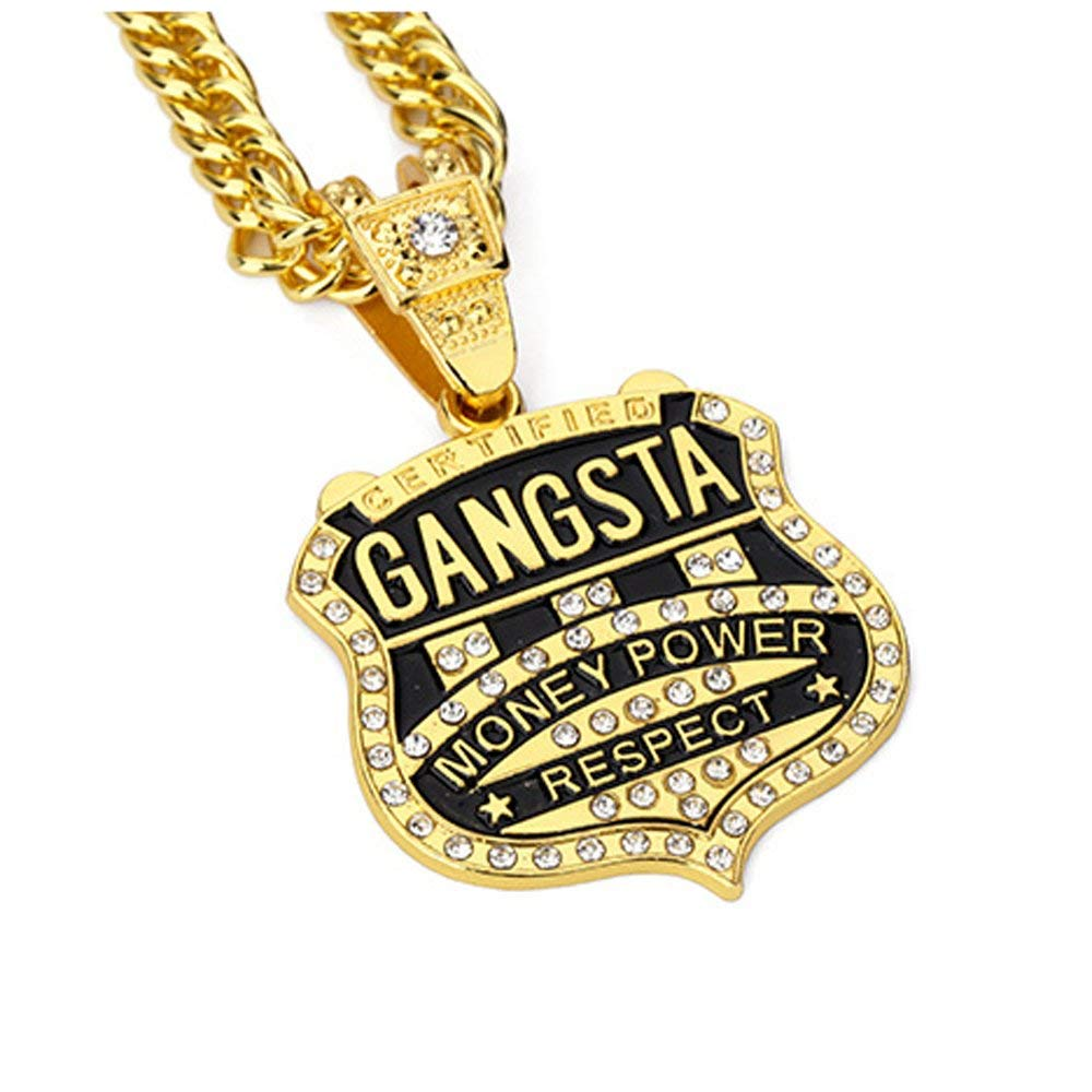 18cK Gold Filled Iced Out <font><b>GANGSTA</b></font> Pendant Charm Fashion Bling Cuban Chain Necklace Hiphop Jewelry image