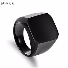 Fashion Rings Square Big Width Signet Rings 24K Titanium Steel man Finger Silver Black Gold Men Ring Jewelry anel New