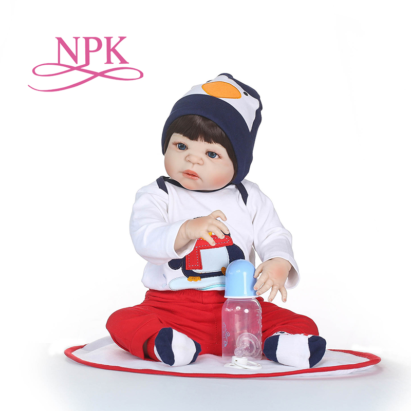 NPK 55cm Soft Silicone Reborn Dolls Baby Realistic Doll Reborn babies Full Vinyl Boneca BeBe Reborn Doll For Girls Birthday npk cute smile baby girl dolls real soft silicone reborn babies 55 cm with fiber hair realistic boneca reborn doll