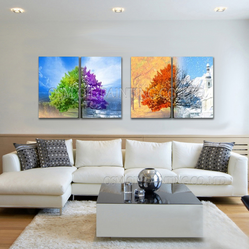 Top Artist Handmade High Quality Abstract 4 Panels Oil Painting on Canvas Abstract Seasons Trees Oil Painting for Living Room