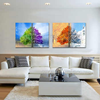Top Artist Handmade High Quality Abstract 4 Panels Oil Painting on Canvas Abstract Seasons Trees Oil Painting for Living Room - DISCOUNT ITEM  50% OFF All Category