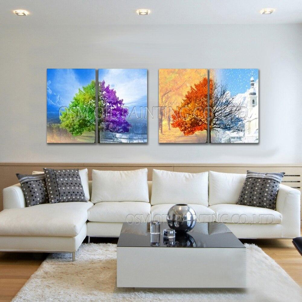 Ev ve Bahçe'ten Resim ve Hat'de Üst Sanatçı El Yapımı yüksek kaliteli soyut 4 Paneller Yağlıboya Tuval üzerine Soyut Mevsim Ağaçları Yağlıboya Oturma Odası için'da  Grup 1
