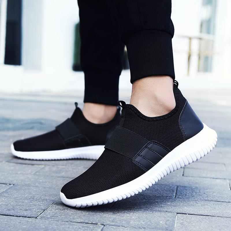 ฤดูร้อนผู้ชายรองเท้าตาข่ายกีฬารองเท้าชายน้ำหนักเบารองเท้าผ้าใบฤดูร้อนกีฬารองเท้า Breathable เดินสีดำ b-289