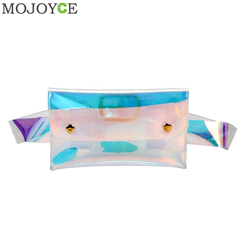 Laser Hologram Waist Bag Women PVC Clear Belt Handbags Female Summer Beach Waist Pack Waterproof Transparent Chest Pack Women holographic belt purse