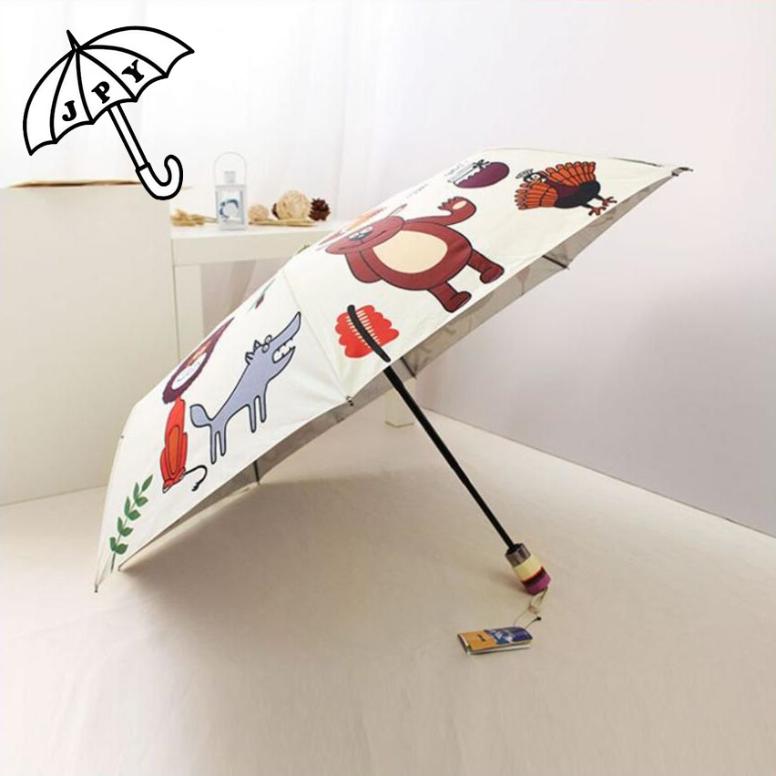 Wonderful Deer Animal Parasols Silver Three Folding Full Automatic Umbrella Sun Proof UV Protection Lovely Sun Umbrella