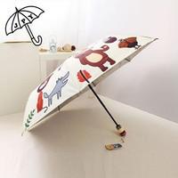 Wonderful Deer Animal Parasols Silver Three Folding Full Automatic Umbrella Sun Proof UV Protection Lovely Sun Umbrella
