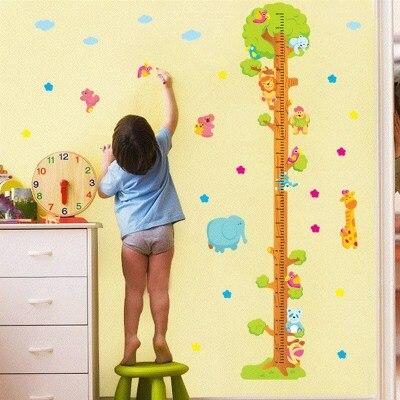 Детские размеры Ростомер рост ребенка измерения высота линейка настенная бумага Милая мультяшная Наклейка на стену - Цвет: P