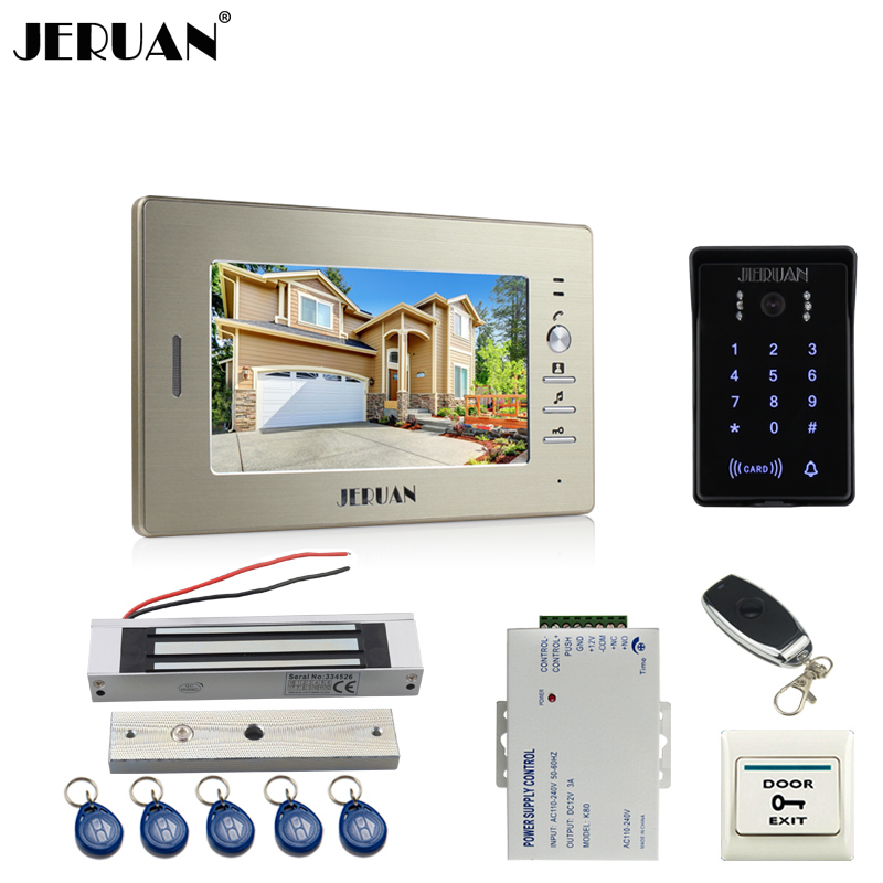 JERUAN 7`` TFTvideo doorphone intercom system Kit brang New RFID waterproof Touch Key password keypad Camera remote control lock jeruan 8 inch lcd video doorphone recording intercom system kit new rfid waterproof touch key password keypad camera 8g sd card