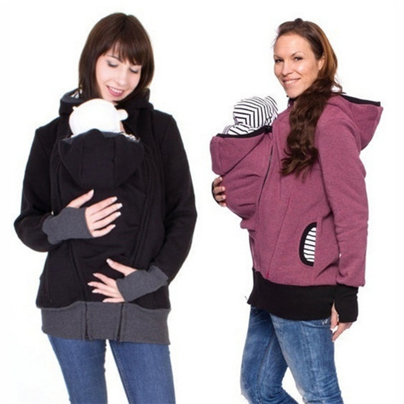 fashion style long sleeve mother autumn winter women hoddies carry baby infant sweatshirt zipper coat maternity