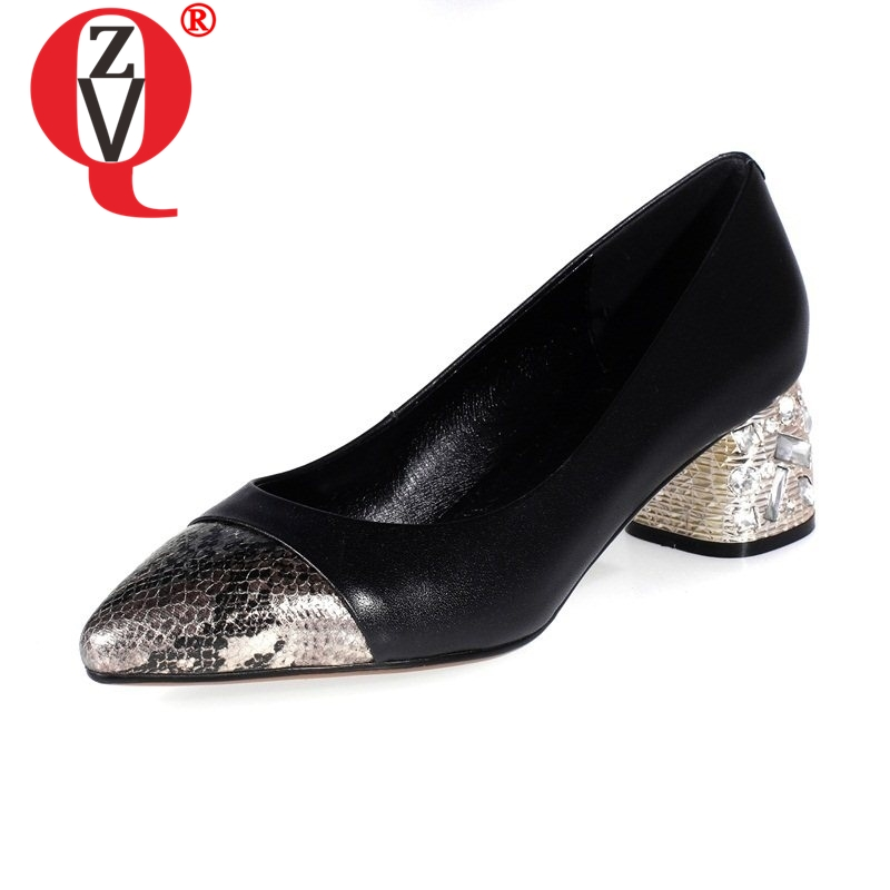 ZVQ rhinestone decoration heels genuine leather snake skin pointed toe women pumps mixed colors female shoes