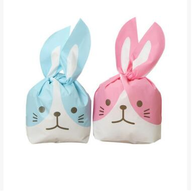 2017 New 50Pcs Kawaii Rabbit Ear Gift Bag Cookie Bags Gift Bags For Candy Biscuits Snack Baking Package Bakery Gift Packing Dec