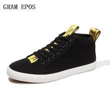 GRAM EPOS New 2017 High Quality Men Canvas Shoes Fashion High top Men's Casual Shoes Breathable Canvas Man Lace up Brand Shoes