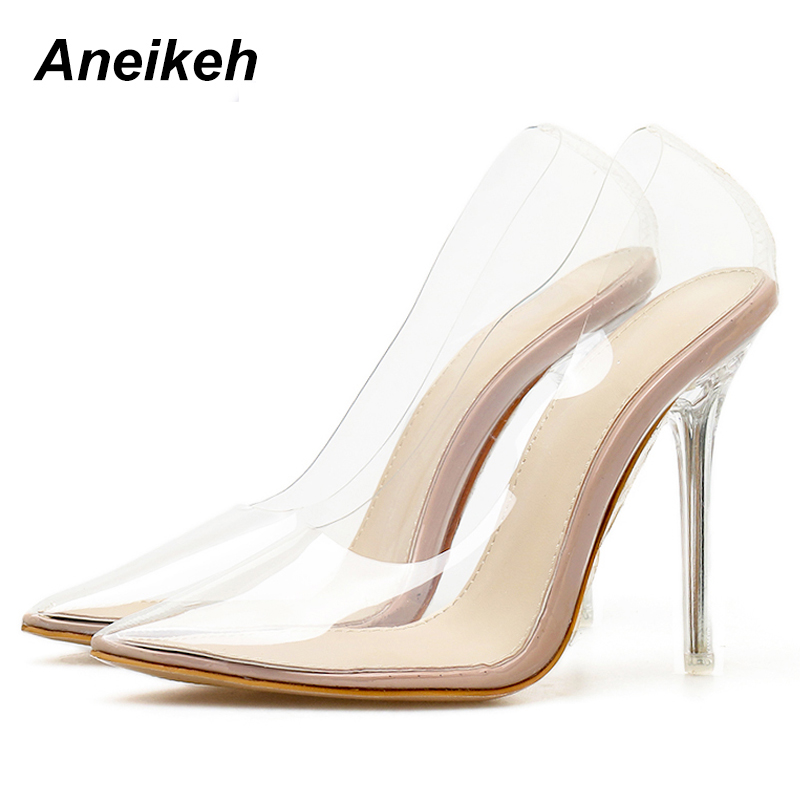 Aneikeh Spring Summer Clear Plastic Transparent PVC Pump Club Party Shoes Fashion Sexy Party Fine Heel Female High Heels ShoesAneikeh Spring Summer Clear Plastic Transparent PVC Pump Club Party Shoes Fashion Sexy Party Fine Heel Female High Heels Shoes