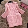 Natural de piel de conejo abrigos mujer otoño invierno bolsillo delgado medio largo chaqueta de abrigo de piel prendas de vestir exteriores de las mujeres completo pelt grande tamaño