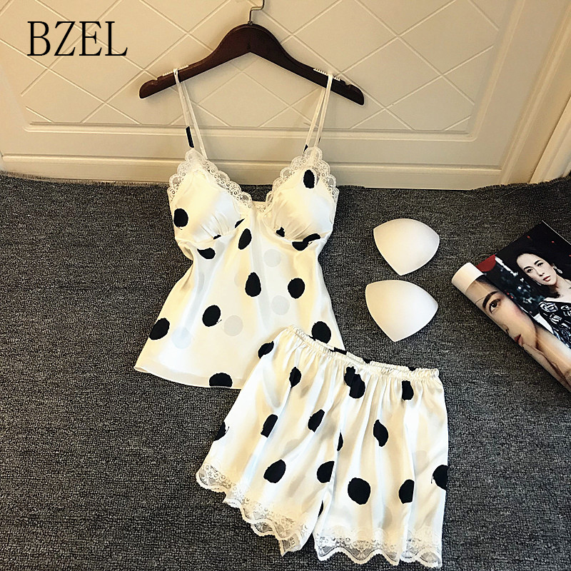 BZEL Sexy Lace   Pajama     Sets   Summer Women's Pijama V-Neck Sleepwear Sling Shorts Suit   Set   Cute Home Clothes Polka Dot Home Wear XL