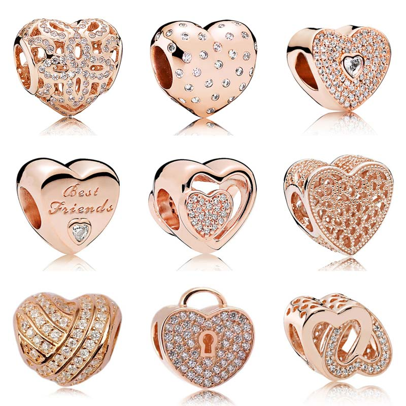 Rose Gold Pave Joined Together Heraldic Love Heart Crystal